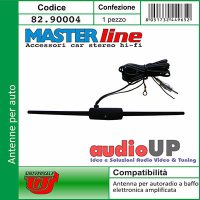 ANTENNA AM FM AMPLIFICATA 12V ADESIVA ELETTRONICA AUTO STEREO PARABREZZA RADIO